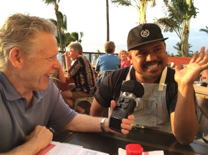 Jim White with Chef Sheldon Simeon at Migrant.